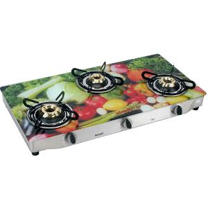 3 Burner Gas Stove Glass Top -